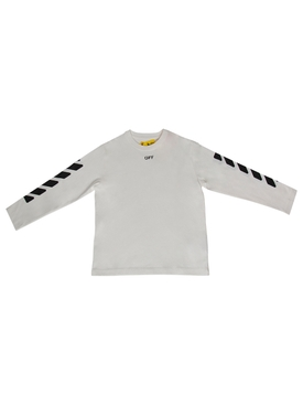 KID'S OFF STAMP LONG-SLEEVE TEE WHITE AND BLACK