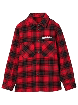 KID'S LOGO CHECK FLANNEL SHIRT RED AND WHITE