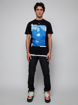 Blue monalisa short sleeve slim tee BLACK