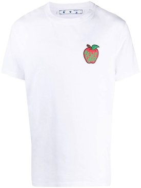 Short-sleeve Cotton T-shirt, White and Red