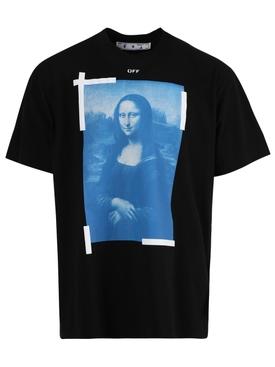 Blue Mona Lisa Short Sleeve T-Shirt Black White