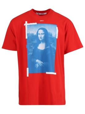 Blue Mona Lisa Short Sleeve T-Shirt Fiery Red