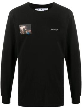 Long-sleeve Caravaggio angel t-shirt BLACK