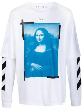 Blue Mona Lisa double sleeve t-shirt