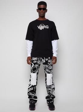 X Katsu Double Sleeve Tee Black and White