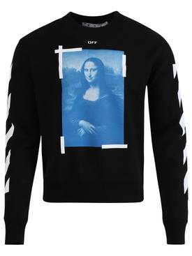 Blue Mona Lisa Long Sleeve T-Shirt Black White
