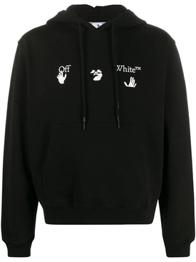 Slim-fit logo hoodie BLACK WHITE