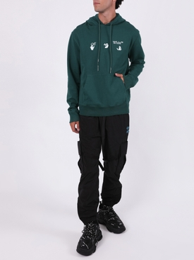 Slim-fit logo hoodie GREEN WHITE