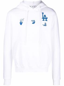 X LA Dodgers Hoodie Cream White and Blue