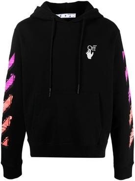 Marker slim hoodie BLACK FUCHSIA
