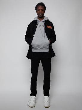 Blue marker slim-fit hoodie, mélange grey