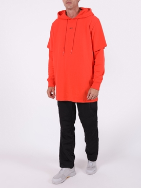Stencil double tee hoodie ORANGE BLACK