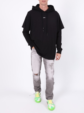 Stencil double tee hoodie BLACK/WHITE