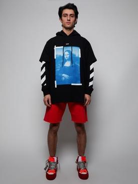 Blue mona lisa double tee hoodie