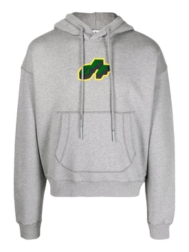 Tongue out over flatlock logo hoodie mélange grey
