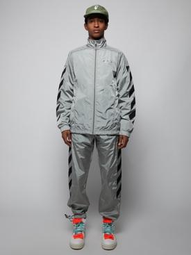 Diagonal stripe track jacket Limestone Black