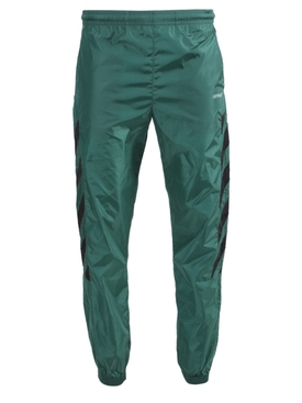 Nylon diagonal stripe track pants GREEN