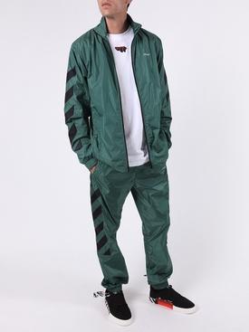 Nylon diagonal stripe track pants GREEN