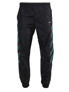 Nylon diagonal stripe track pants BLACK
