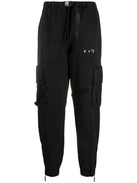 Black parachute cargo pants