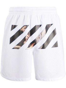 Caravaggio Print Mesh shorts WHITE