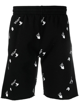 Black and White Logo Print Sweat Shorts