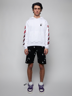 Black and White Logo Print Sweat Shorts