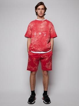 Vintage bleach sweat shorts, SAMBA RED