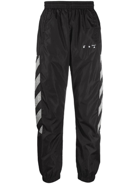 Diagonal nylon trackpant BLACK LIMESTONE