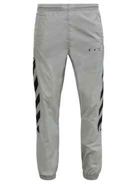 Diagonal nylon trackpant LIMESTONE BLACK