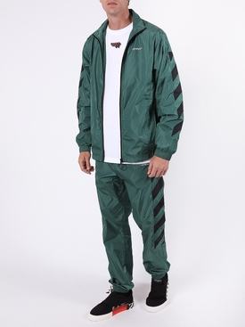 Diagonal Stripes jacket GREEN/WHITE