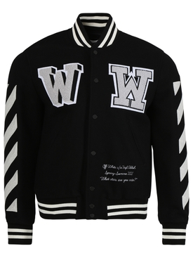 Diagonal varsity bomber jacket BLACK & WHITE