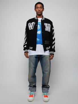 Diagonal varsity bomber jacket BLACK & WHITE
