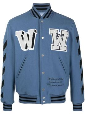 Diagonal varsity bomber jacket BLUE