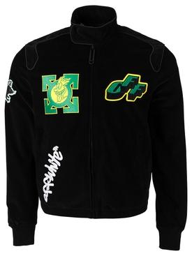 Corduroy moto jacket, black