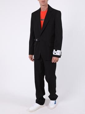 Black strap logo blazer