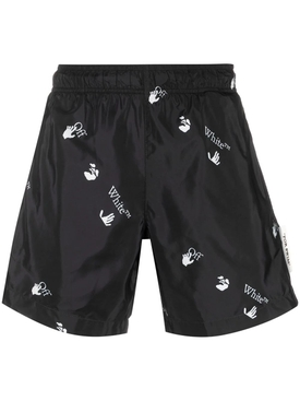 Black and White Logo Print Swim Shorts