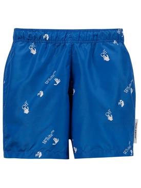 Allover Logo Print Swim Shorts, Blue and White