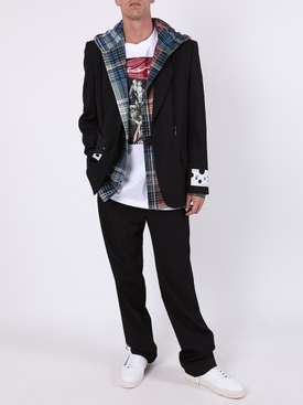 Check-pattern hooded shirt BLUE BLACK