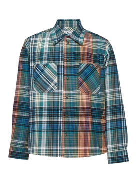 Blue and multicolored check-print flannel shirt