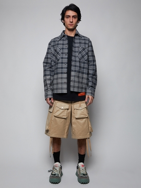 Check print allover degrade flannel shirt