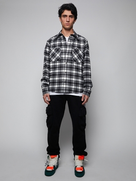 All-Over Check Flannel Shirt BLACK & WHITE