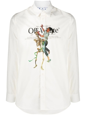 White Pascal Skeleton print shirt