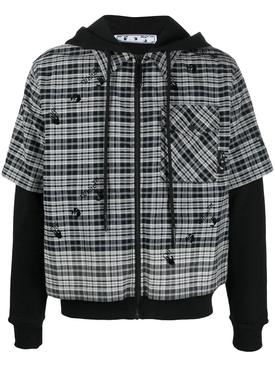 logo degrade hybrid shirt over hoodie