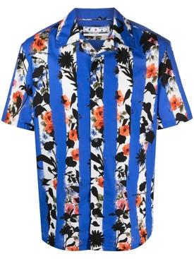 Striped flower holiday short-sleeve shirt