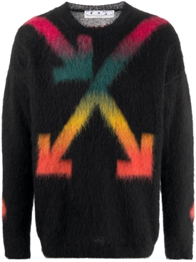Black multicolored arrow logo sweater