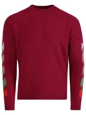Diagonal brushed knit crew neck BATON ROUGE PINK