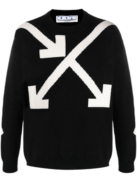 TWISTED ARROWS KNIT PULLOVER SWEATER BLACK AND WHITE