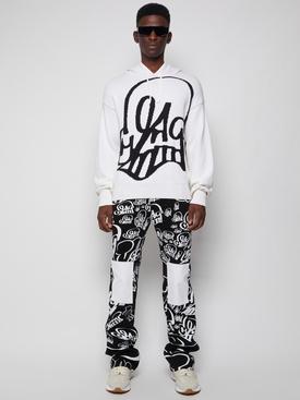 X Katsu recycled knit hoodie white and black