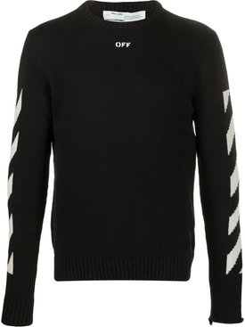 Ribbed Crewneck Arrow Logo Sweater BLACK